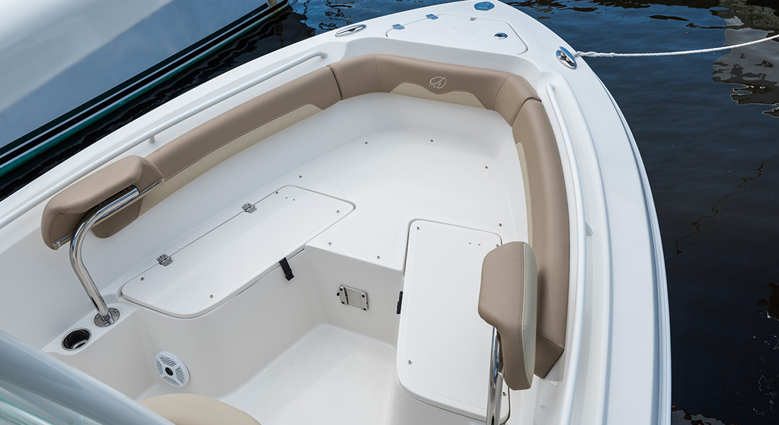 220 Center Console - View of Bow Seating Without Cushions