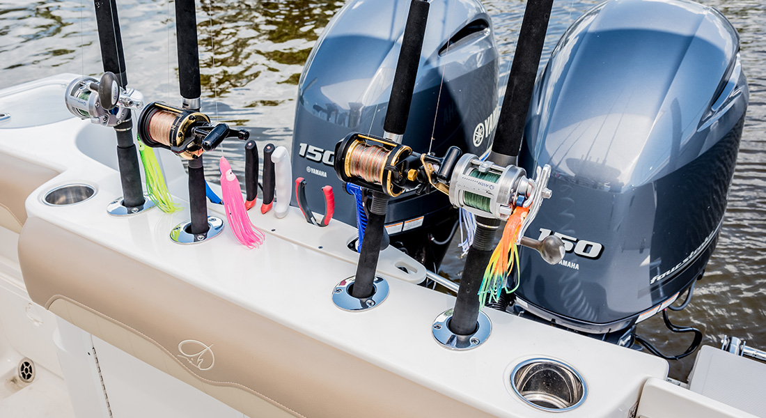 242 Center Console - Transom Rod Holders