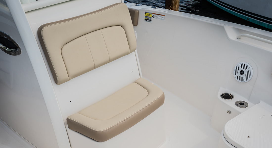 241 Center Console - Forward Helm Seat with Built-In 27qt. Insulated Cooler/Storage