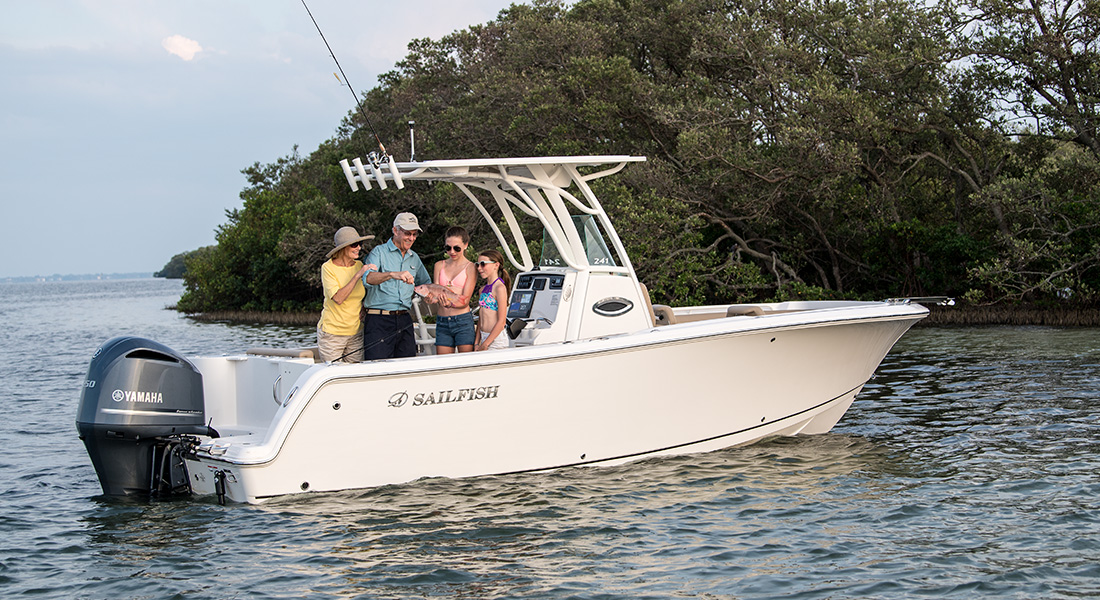 241 Center Console - Grandparents Fishing with Granddaughters