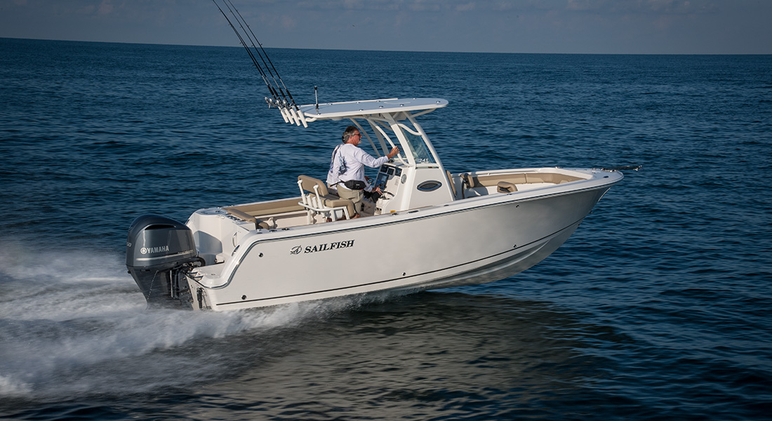 241 Center Console - Two Men Running Right on Plane Offshore